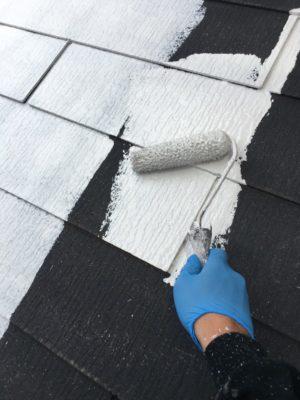 幸手市屋根塗装 下塗り