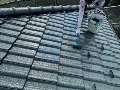 蓮田市屋根外壁塗装上塗り