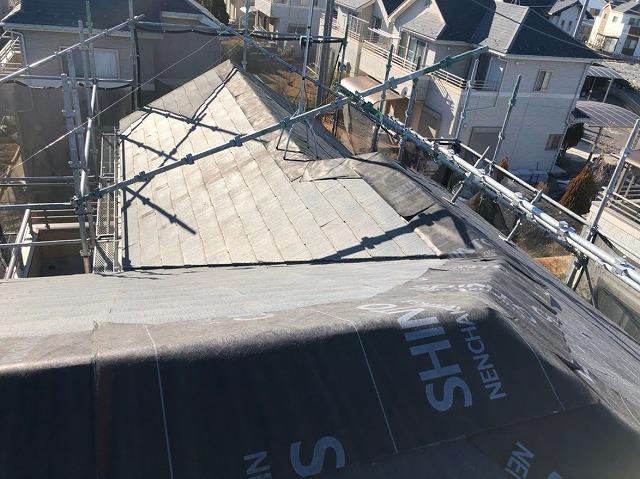 幸手市 屋根カバー工法 防水シート設置