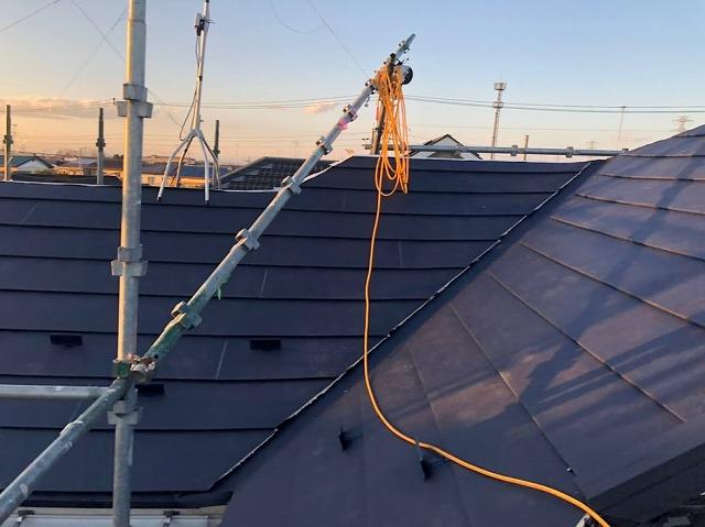 幸手市 屋根カバー工法 ガルテクト設置完了