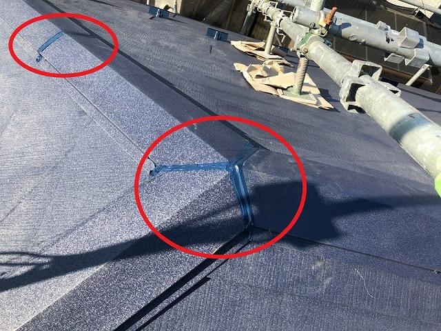 屋根カバー工法 棟板金コーキング完了