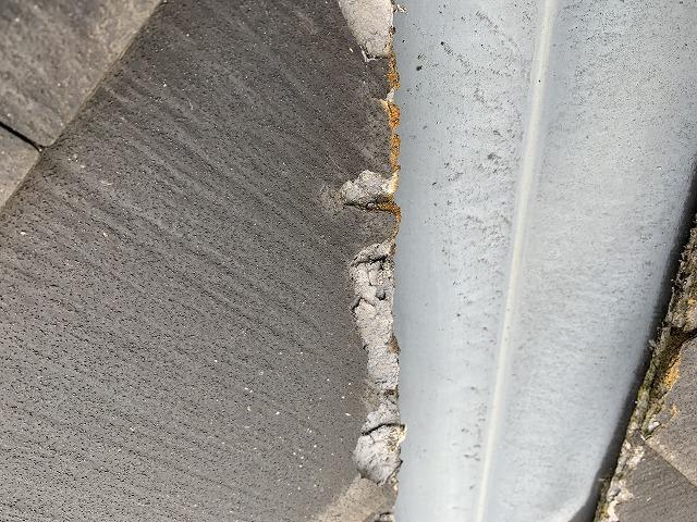 さいたま市桜区 パミール屋根 端部の欠け